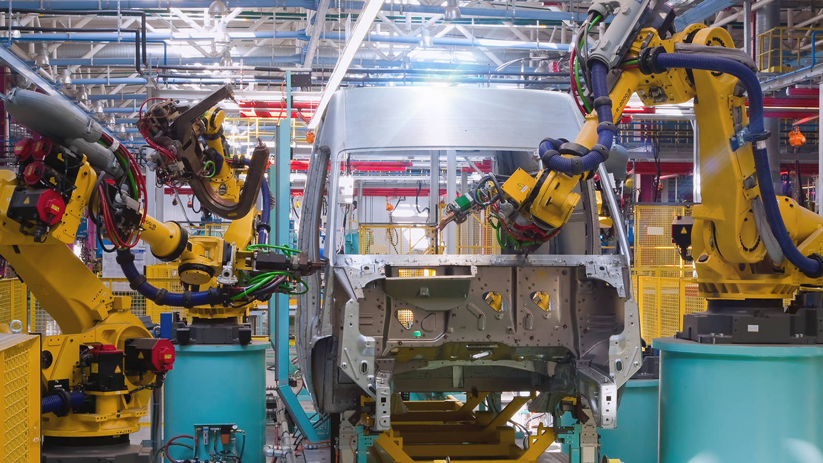 An industrial automation system for vehicle manufacturing