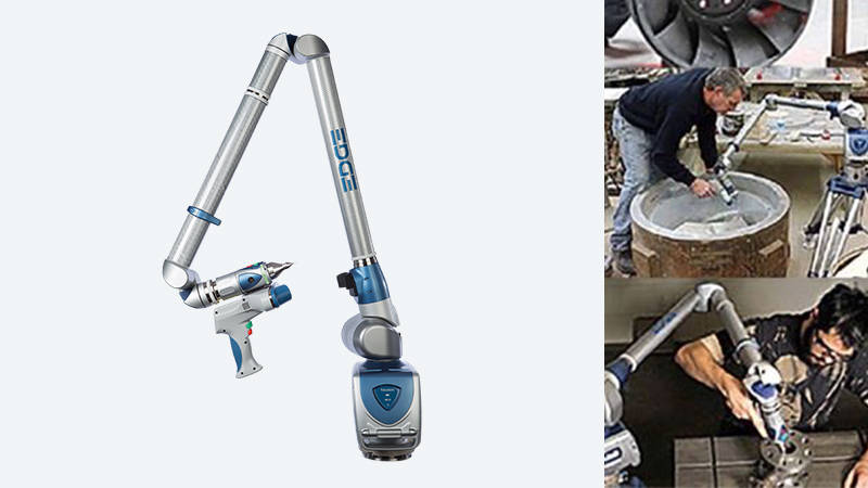 A photo montage of a FARO 3D laser scanner and workers using it to scan casting machines and molds
