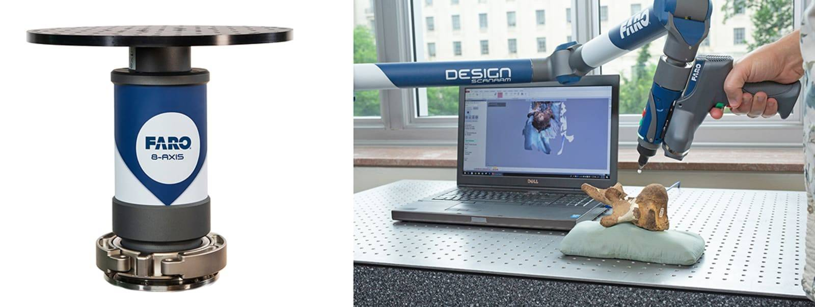 The new 8-Axis (pictured left) and the Digitization Program Office scanning an artifact (pictured right).