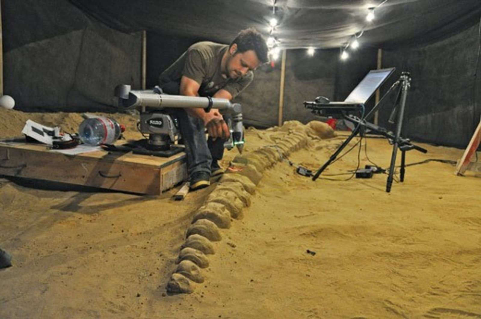 Vince Rossi uses a FARO laser arm scanner to capture a whale skeleton for research.