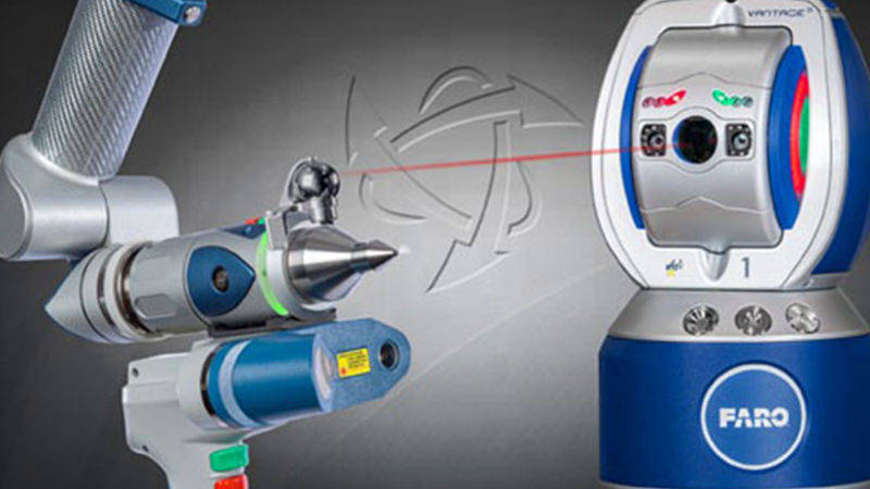A FARO Vantage Laser Tracker working with a FARO ScanArm for 3D scanning