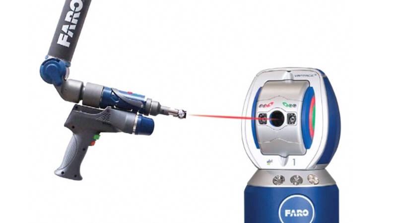 A FARO Super 6DoF TrackArm used for precision measurement