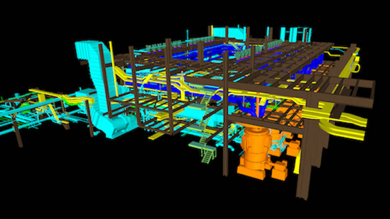 3D modeling software screenshot used for power plant pipe replacement