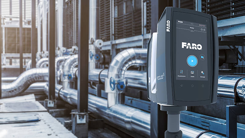 A FARO Focus Laser Scanner 3D scanning a power plant for design enhancements