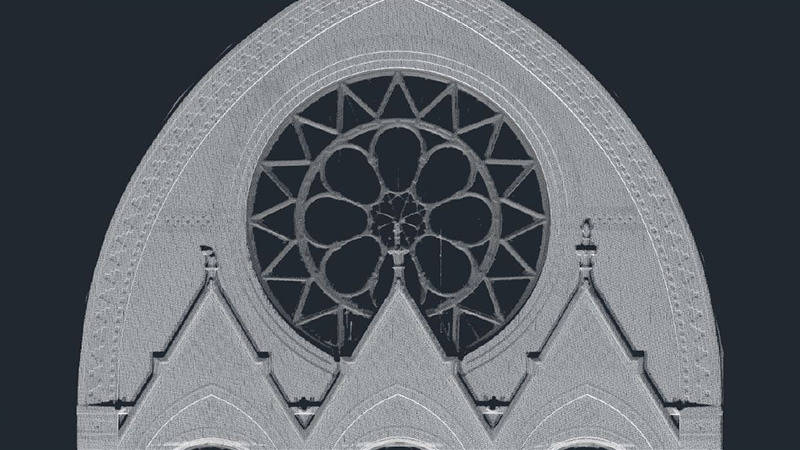An image of an architectural feature captured through 3D scanning