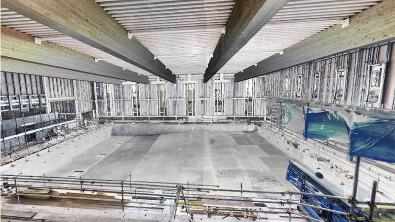 3D imaging of a swimming pool being built