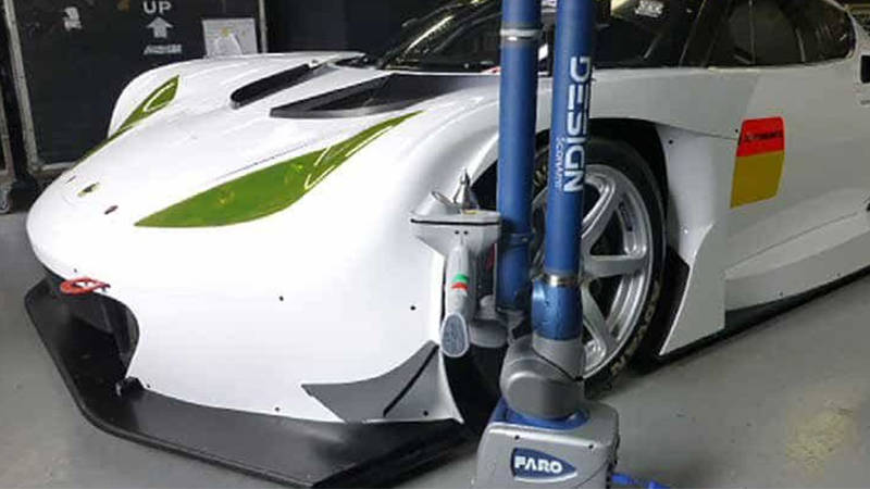 A white race car featuring modern industrial design engineering
