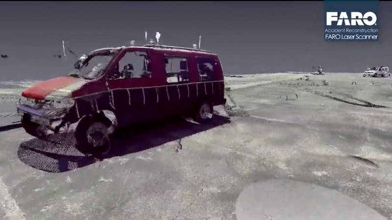 A vehicle in a digitized crash scene created for insurance purposes and investigation