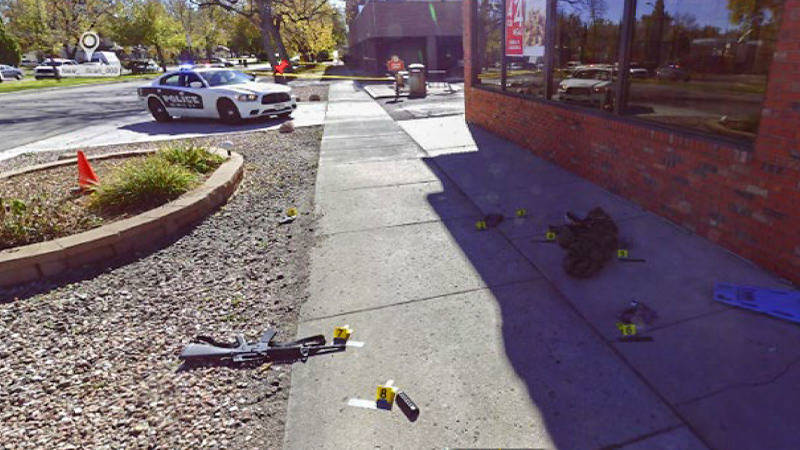 The crime scene of a 2016 shooting in Colorado Springs, Colorado