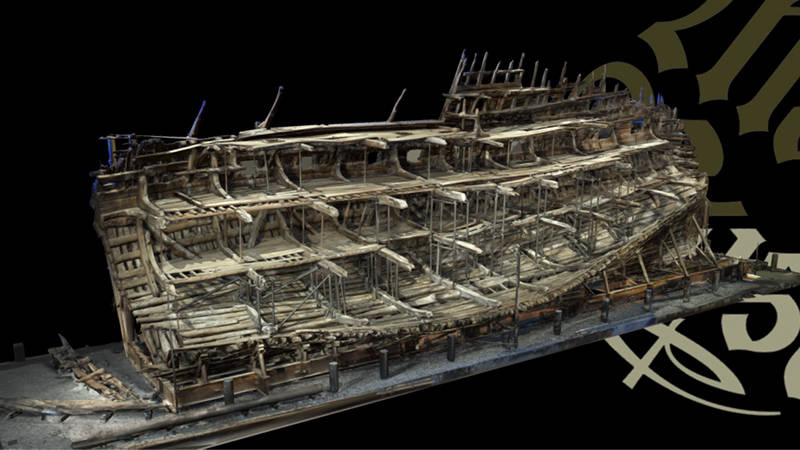 The Mary Rose warship scanned with  3D laser scanning and viewed in FARO SCENE